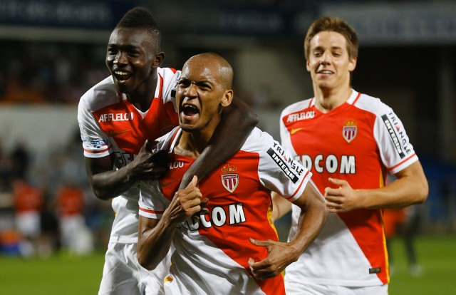 24 Sep 2015, Montpellier, France, France --- epa04947445 Fabinho (C) of ASM Monaco celebrates with his team mates after scoring a goal against Montpellier HSC during the French League 1 soccer match between ASM Monaco and Montpellier HSC, at La Mosson stadium, Montpellier, Southern France, 24 September 2015 EPA/GUILLAUME HORCAJUELO --- Image by © GUILLAUME HORCAJUELO/epa/Corbis